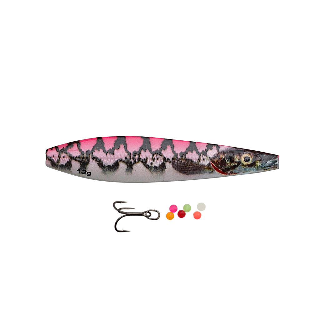Savage gear line thru seeker eel pout collection 9cm - 24gr pink pout - gennemløber fra savage gear på fisk på krogen