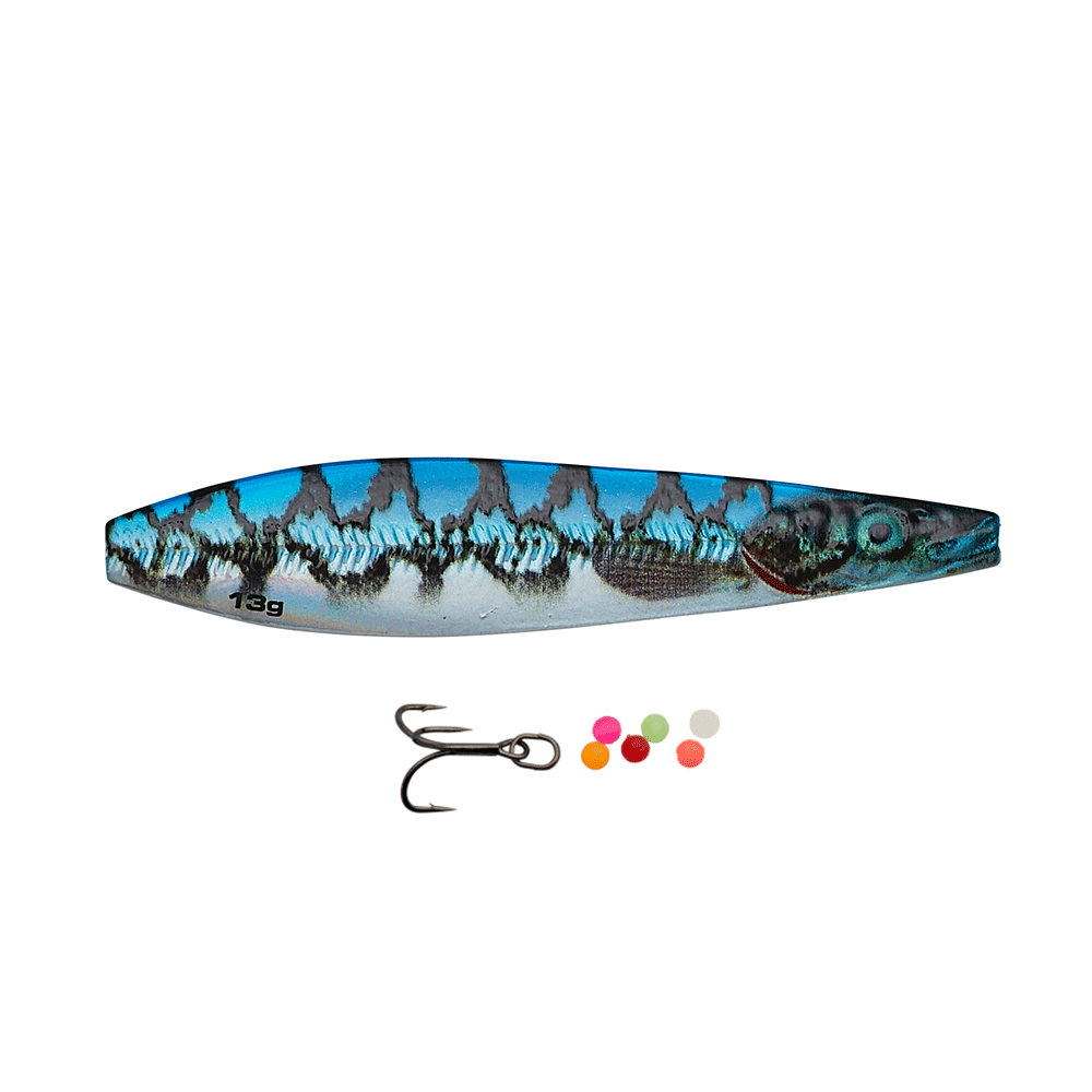 savage gear Savage gear line thru seeker eel pout collection 9cm - 24gr blue silver pout - gennemløber fra fisk på krogen