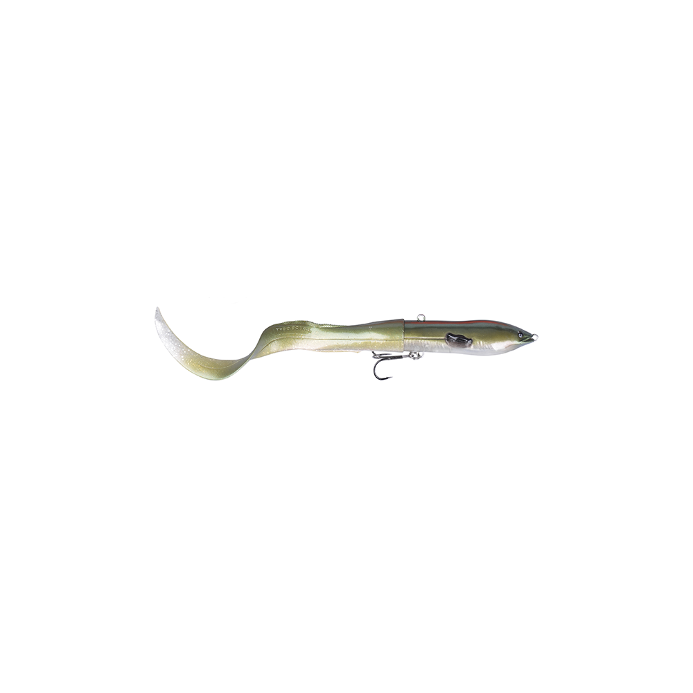 Savage gear 3d hard eel tail bait 17cm - 40gr green silver - softbait fra savage gear fra fisk på krogen